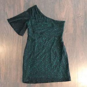 Nine West Green w/ Black Lace Over Dress Size 14